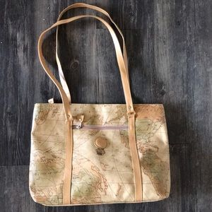 World Map bag with front &back zippers